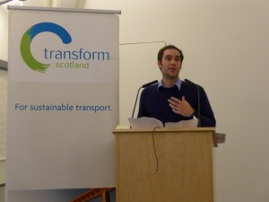 Adam McVey speaking at Transform Platform for the SNP